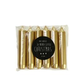 Rustik lys dinerkaarsjes  6-pack - goud