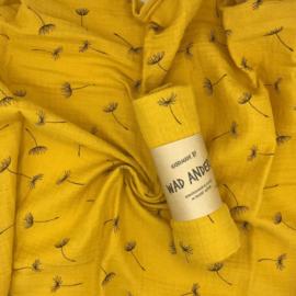Hydrofieldoek oker geel met zwarte paardenbloem