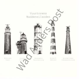 Ansichtkaart Vuurtorens waddeneilanden