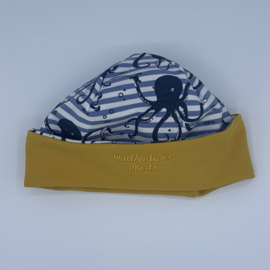 Babymuts handmade by Wad Anders Terschelling - Geel blauw - inktvis