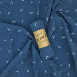 Hydrofieldoek Jeans Blauw met Ankertjes
