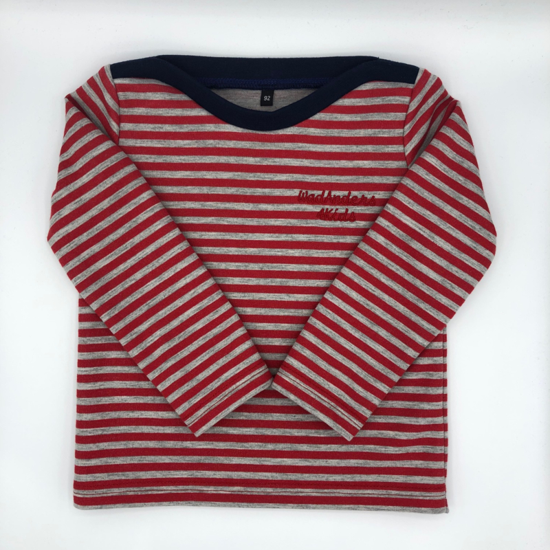 Truitje Bretonse streep - rood / grijs