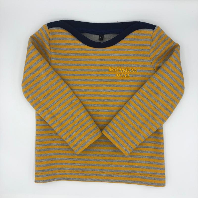 Truitje Bretonse streep - grijs / oker geel