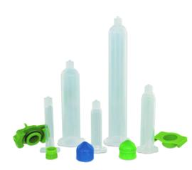 8001058 set van 3cc clear spuiten + groene plunjers , 50 stuks