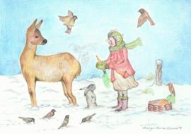 Poster Dieren voeren in de winter - Eentje van Margot