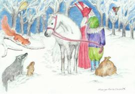 Ansichtkaart Dieren en Sint Nicolaas -  Eentje van Margot