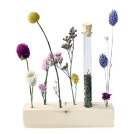Houten standaard met droogbloemen  en zaden - Blooming by Flinde