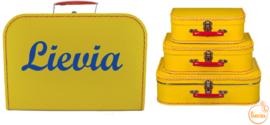 Koffertje geel 25 cm