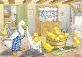 Postkaart Ducklings Bath Time