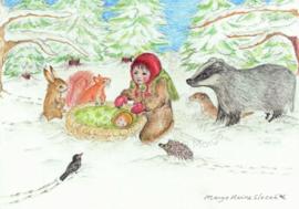 Ansichtkaart Winterkind  - Eentje van Margot