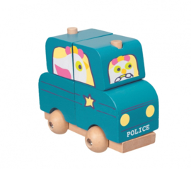 Houten stapelbare politieauto