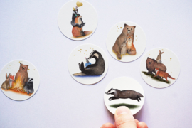 Ronde stickers Bosdieren 2 - Lotte Drouen