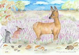 Ansichtkaart Heide in bloei - Eentje van Margot
