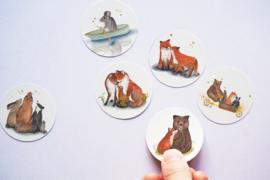 Ronde stickers Bosdieren 1 - Lotte Drouen