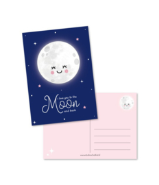 Ansichtkaart Love you to the moon and back - Studio Schatkist