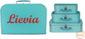 Koffertje licht blauw 25 cm