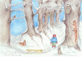 Poster Avonturenbos in de winter - Eentje van Margot
