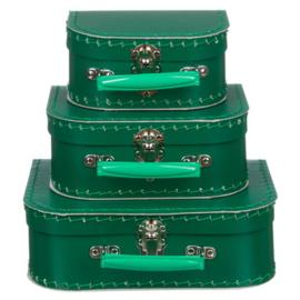 Koffertje donker groen 25 cm