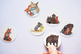 Ronde stickers Bosdieren 4 - Lotte Drouen