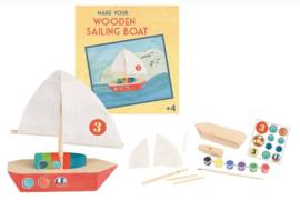 Knutselpakket houten zeilboot schilderen