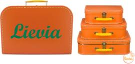 Kinderkoffertje oranje 25 cm