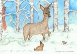 Poster Dieren in een winterbos - Eentje van Margot