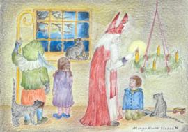 Ansichtkaart Sint Nicolaas steekt de eerste Adventskaars aan - Eentje van Margot