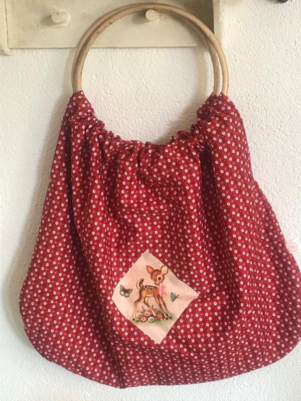 Tas met bamboe handvat rood