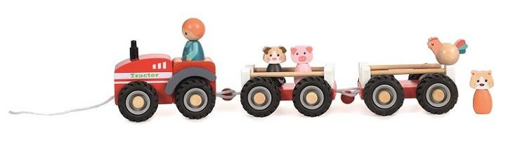 Houten tractor met aanhangers