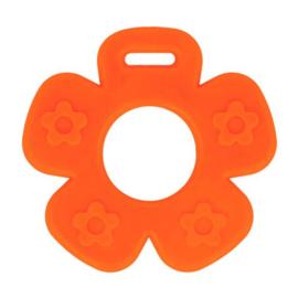 Plastic bijtring bloem - oranje