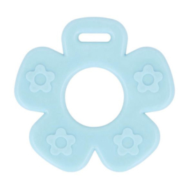 Plastic bijtring bloem - blauw
