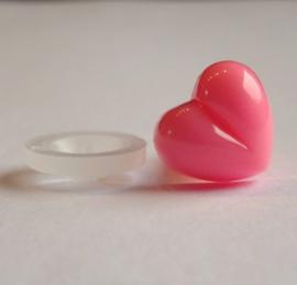 Veiligheidsneusje hart roze 13mm