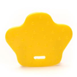 Plastic bijtring dierenpoot - geel