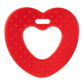 Plastic bijtring hart - rood