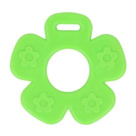 Plastic bijtring bloem - groen