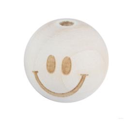 Houten kraal - Smiley 20mm