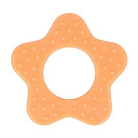 Plastic bijtring ster - oranje