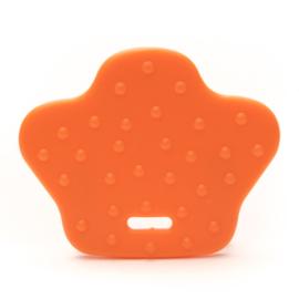 Plastic bijtring dierenpoot - oranje