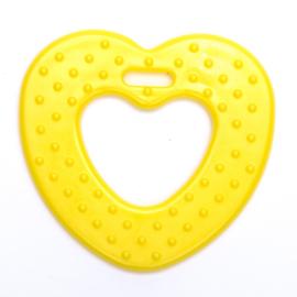 Plastic bijtring hart - geel