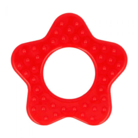 Plastic bijtring ster - rood