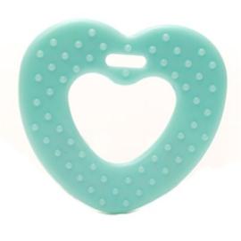 Plastic bijtring hart - mint
