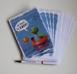 Set 5 kaarten: eend Freddie 'je bent te kwek!'