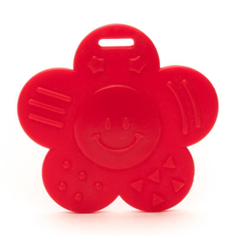 Plastic bijtring zonnetje - rood
