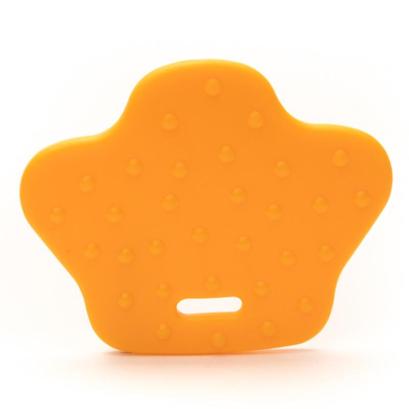 Plastic bijtring dierenpoot - licht oranje