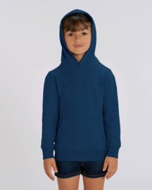 Black heather blue hooded sweater for the little one