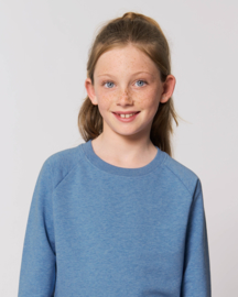 Mid Heather Blue capsule sweater for the little one