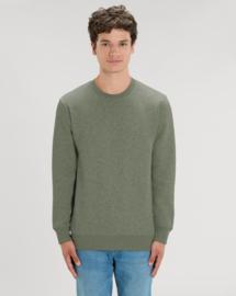 Mid Heather Khaki Uniseks Sweater met ronde hals