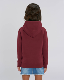 Burgundy hooded sweater for the little one
