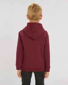 Burgundy  hooded capsule sweater for the little one
