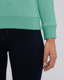 Mid Heather Green capsule sweater for her